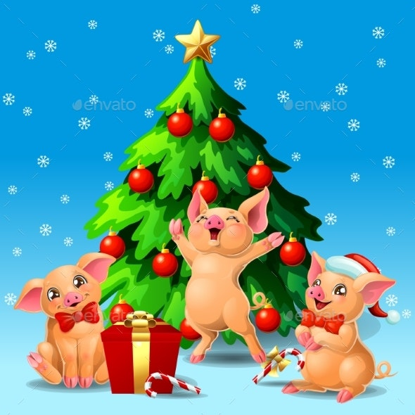 Three Yellow Pigs Ang Fir Tree on Blue - Animals Characters