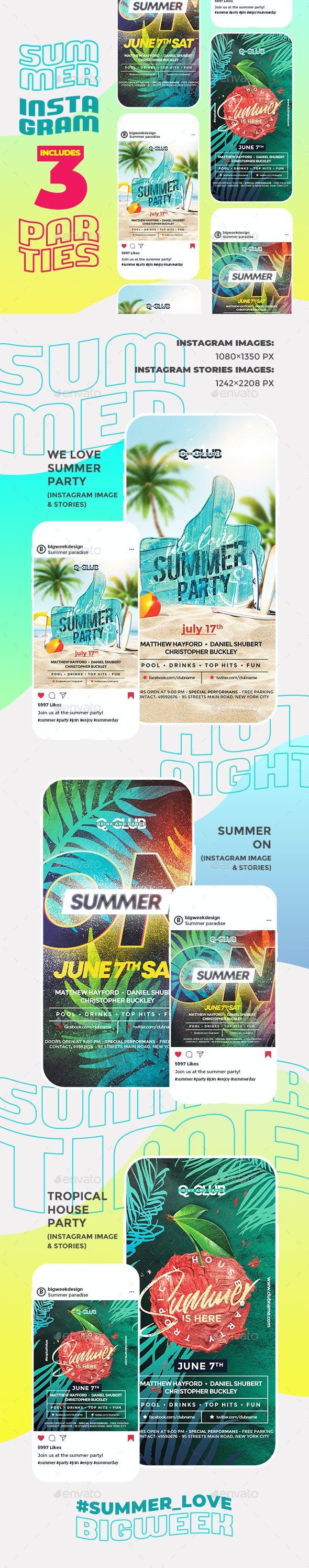 Summer Instagram - Social Media Web Elements