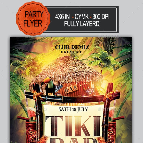Tiki Bar Party Flyer
