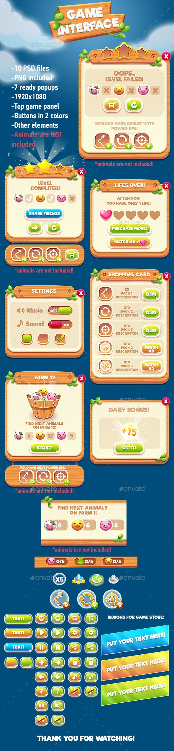 Farm Wooden GUI Pack - User Interfaces Game Assets