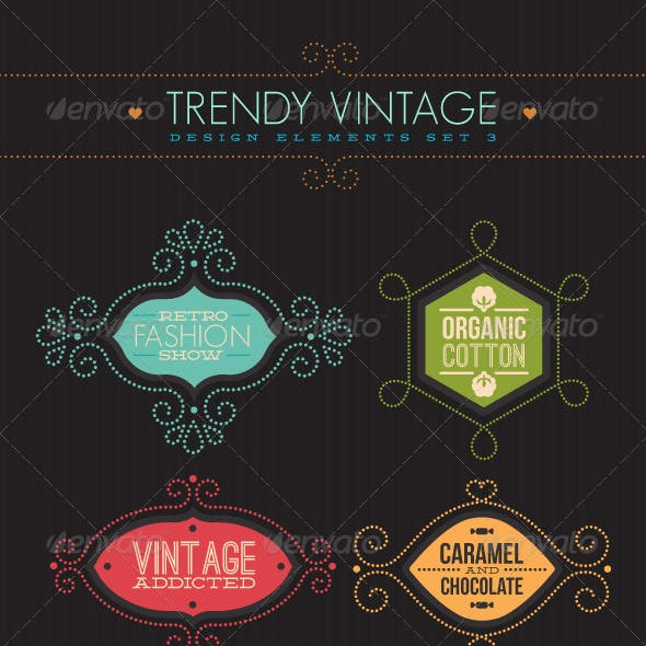 Trendy Vintage Vector Design Elements Set 3