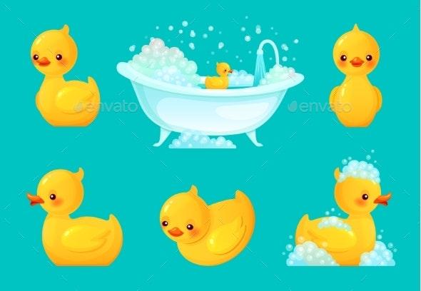 Yellow Bath Duck - Animals Characters