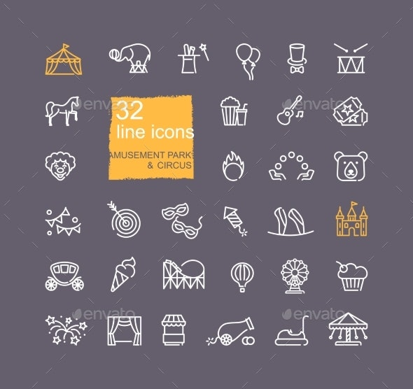 Linear Icons on the Theme of Circus and Amusement - Industries Business