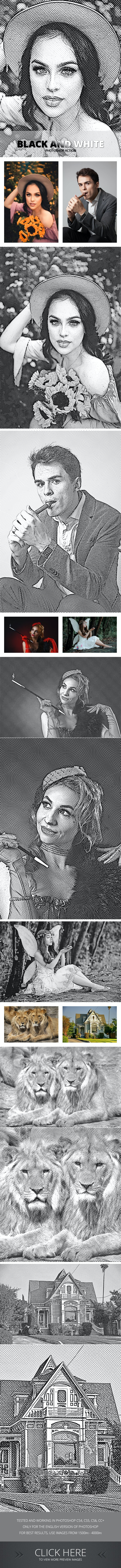 Black and White Photoshop Action - Photo Effects Actions