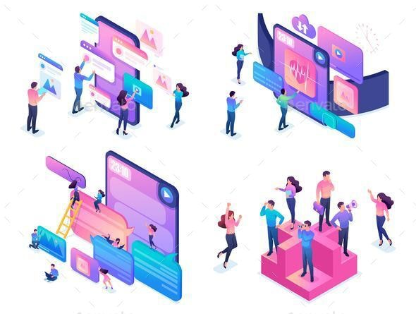 Isometric Creative Young People Using Device - People Characters