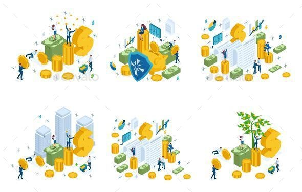 Isometric Set of Financial Concepts - Concepts Business