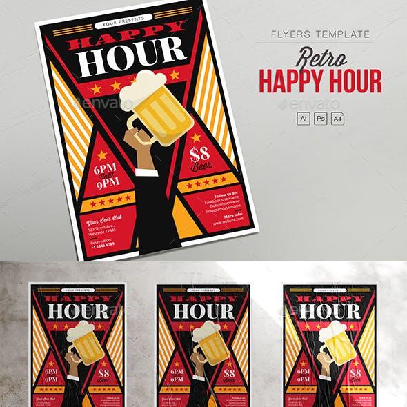 Retro Happy Hour - Hand Beer - Flyers