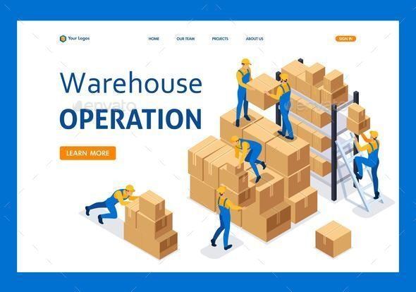 Isometric Workers in a Warehouse - Concepts Business