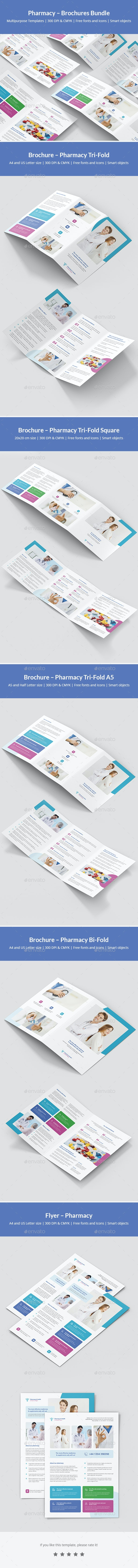 Pharmacy – Brochures Bundle Print Templates 5 in 1 - Corporate Brochures