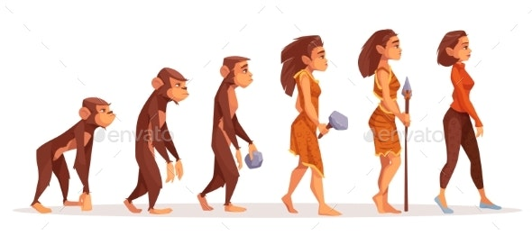 Human Evolution From Monkey To Modern Woman - People Characters