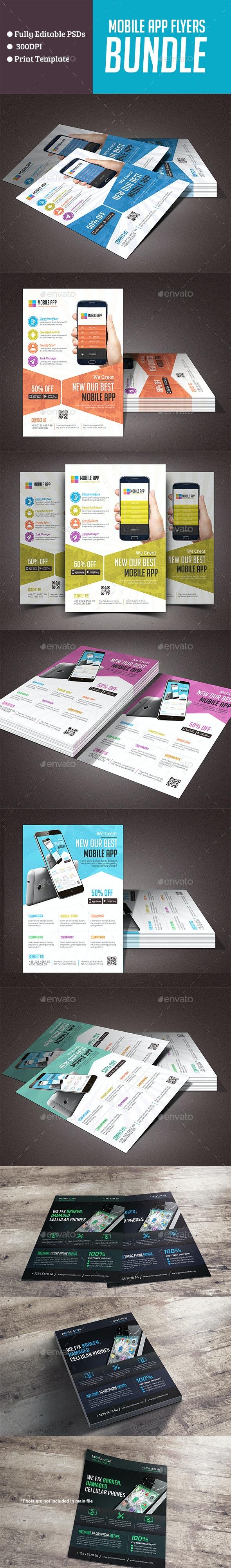 Mobile App & Mob Repair Flyers Bundle - Flyers Print Templates