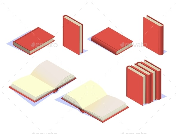Set of Book Icons in Isometric Style - Miscellaneous Vectors