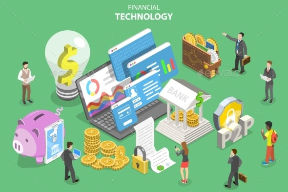 Isometric Flat Vector Concept of Fintech - Computers Technology