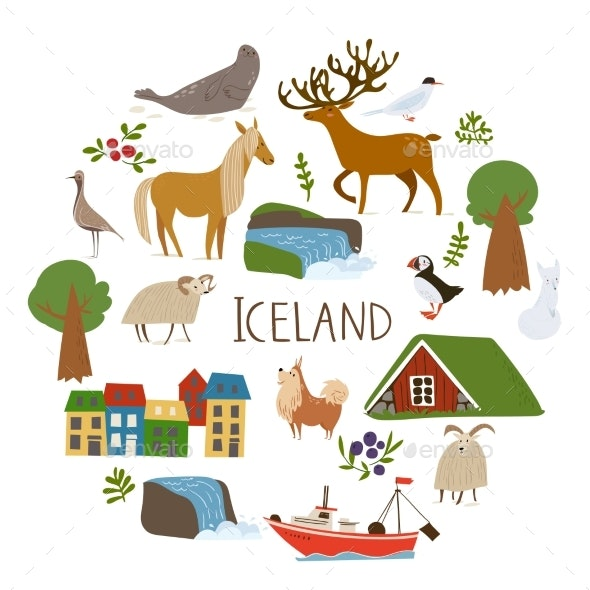 Iceland Nature Vector in a Circle with Symbols - Miscellaneous Vectors