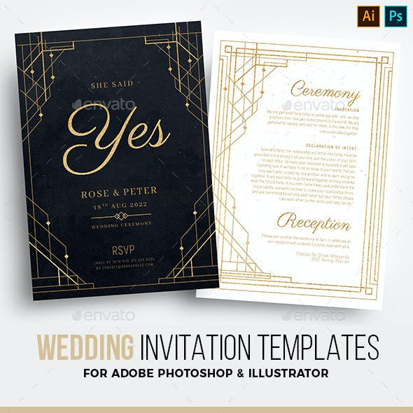 Art Deco Wedding Invitation Templates