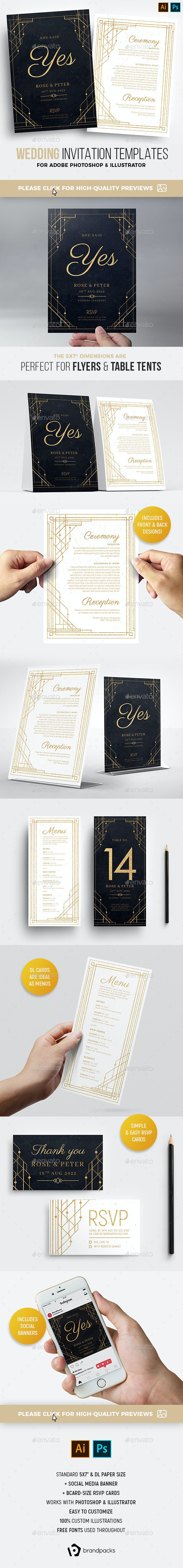 Art Deco Wedding Invitation Templates - Weddings Cards & Invites