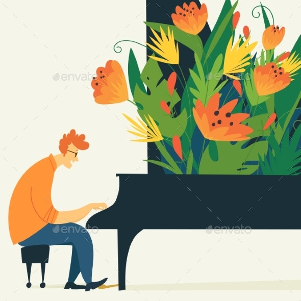 Vector Jazz Illustration with Piano Musician - Abstract Conceptual