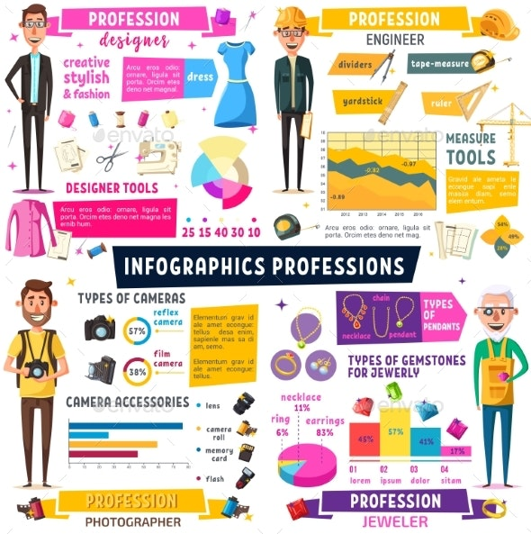 Photographer Engineer Professions Infographic - Industries Business