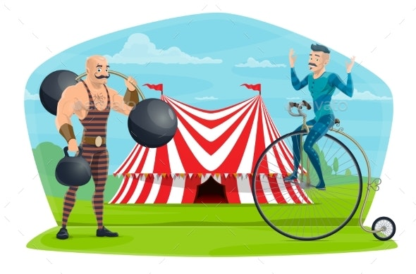 Circus Equilibrist on Unicycle and Muscleman Show - People Characters