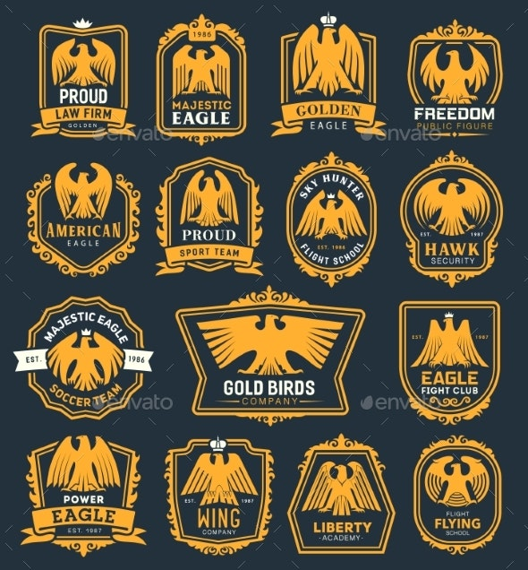 Eagle Bird Heraldic Icons - Decorative Symbols Decorative