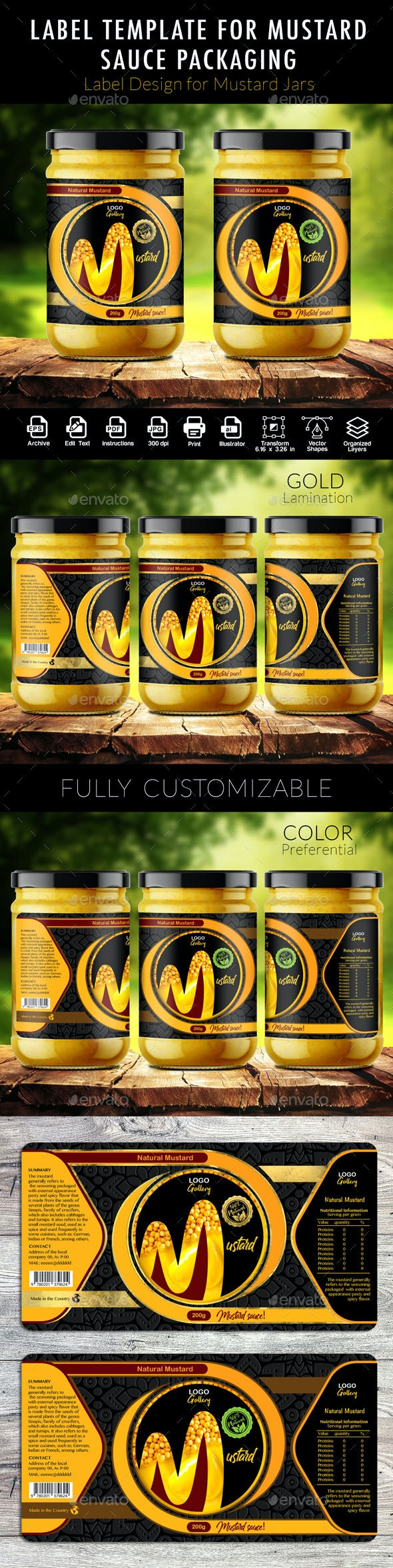Label Template for Mustard Sauce Packaging - Packaging Print Templates