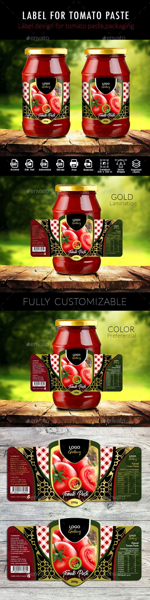 Template Design for Tomato Pulp Packaging - Packaging Print Templates