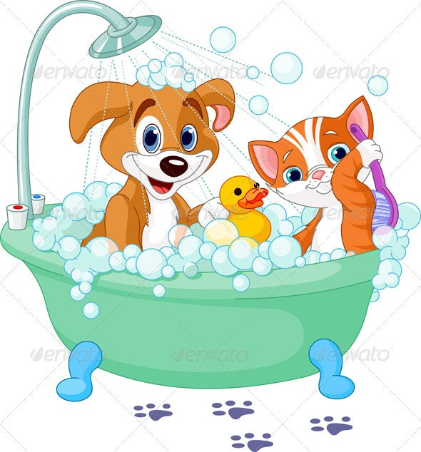 Dog and Cat  having a bath - Animals Characters