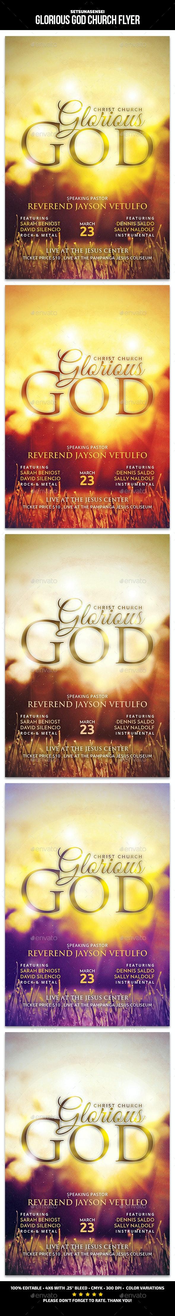Glorious God Church Flyer - Church Flyers