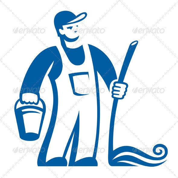 Cleaning Person Sign - Characters Vectors