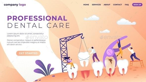 Professional Dental Care Lettering Flat Banner - Health/Medicine Conceptual