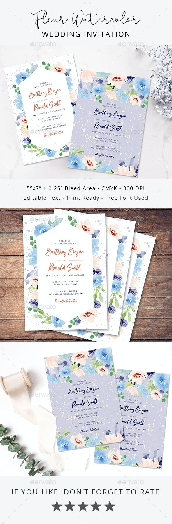 Fleur Watercolor Wedding Invitation - Weddings Cards & Invites