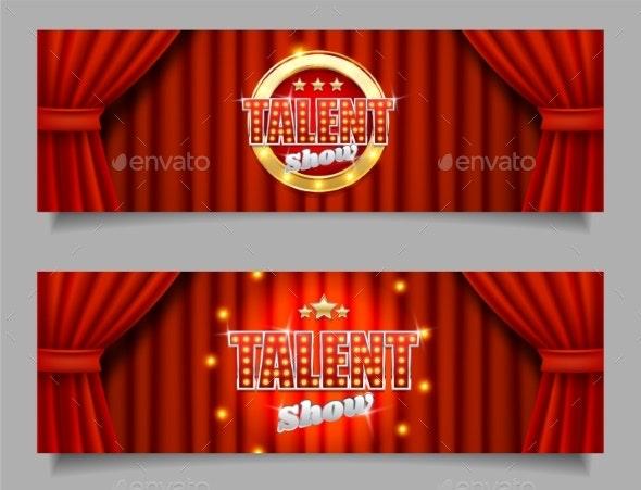 Talent Show Vector Horizontal Banner Template Set - Miscellaneous Vectors