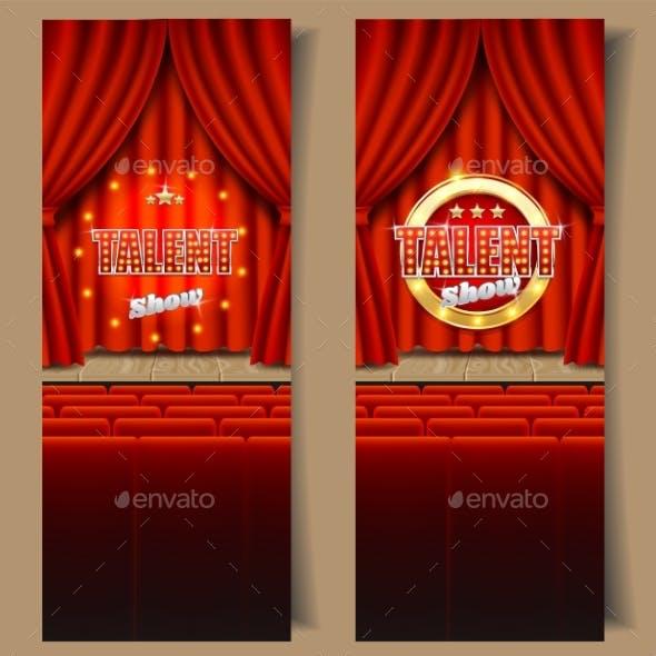 Talent Show Vector Vertical Banner Template Set