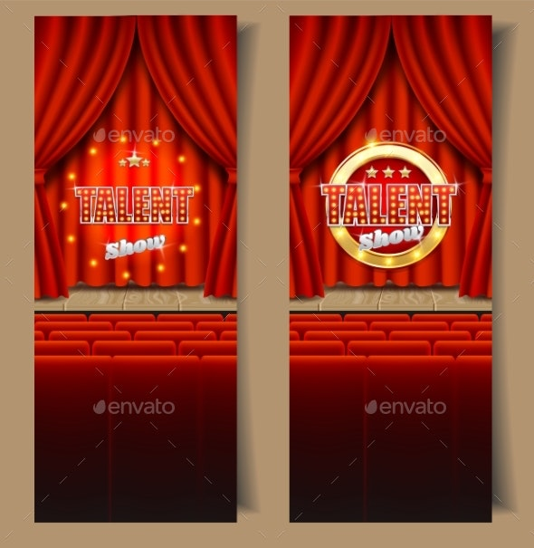 Talent Show Vector Vertical Banner Template Set - Miscellaneous Vectors