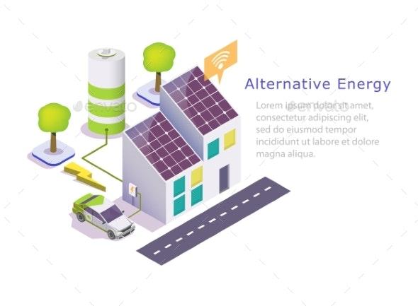 Alternative Green Energy Vector Web Banner - Industries Business