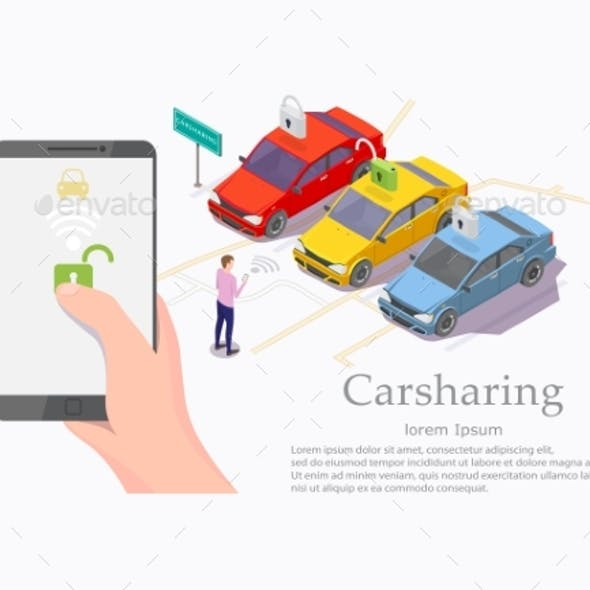 Car Sharing Service Vector Web Banner Template