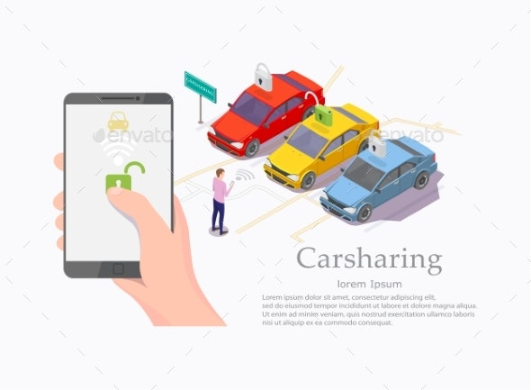 Car Sharing Service Vector Web Banner Template - Communications Technology