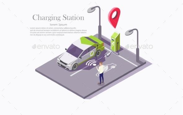 Ev Charging Station Technology Vector Web Banner - Communications Technology