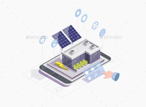 Smart Grid Vector Concept for Web Banner - Industries Business