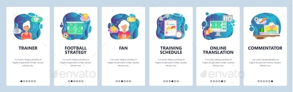 Mobile App Onboarding Screens Sport Game Trainer - Web Elements Vectors