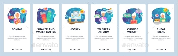 Mobile App Onboarding Screens Sport and Health - Web Elements Vectors