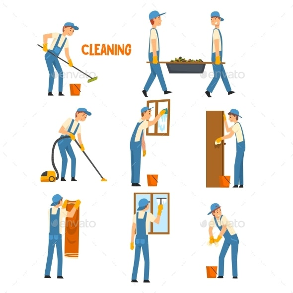 Men Cleaning and Washing Set - People Characters