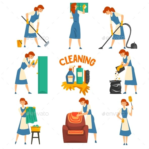 Young Woman Cleaning and Washing Set