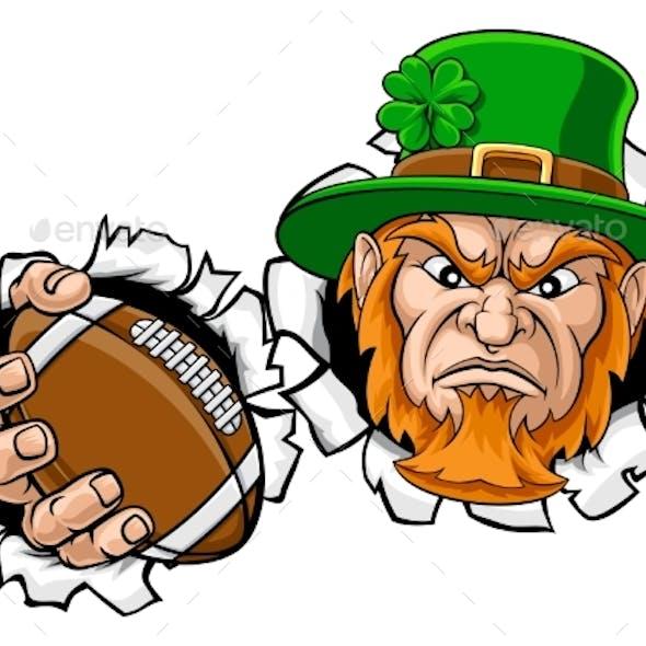 Leprechaun Football Mascot Ripping Background