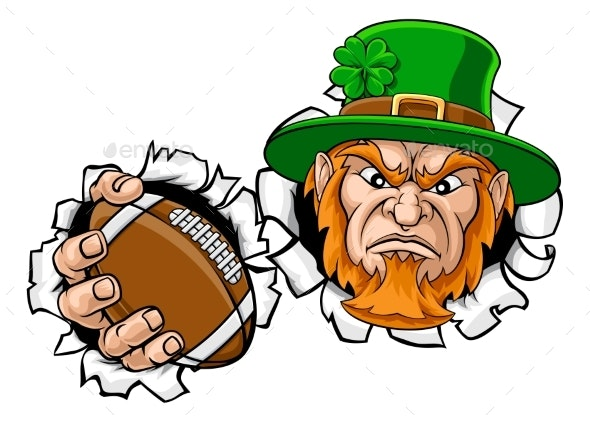 Leprechaun Football Mascot Ripping Background - Sports/Activity Conceptual