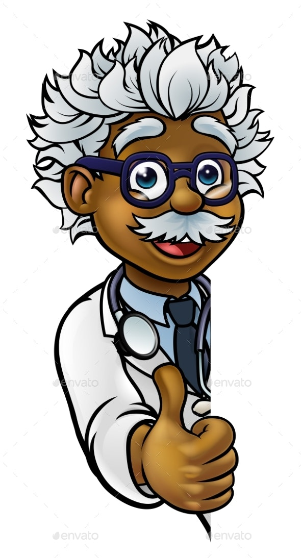 Scientist Cartoon Character Sign Thumbs Up - People Characters