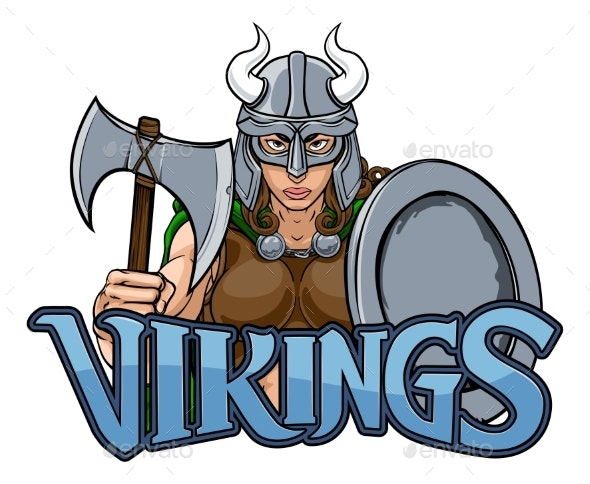Viking Female Gladiator Warrior Woman Team Mascot - People Characters
