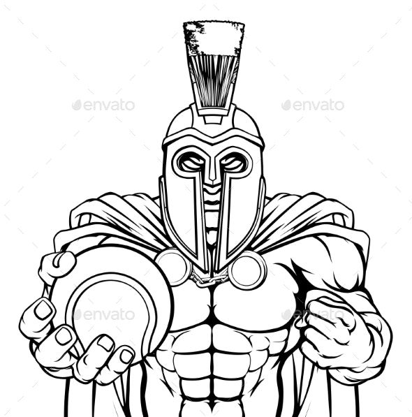 Spartan Trojan Tennis Sports Mascot - Sports/Activity Conceptual