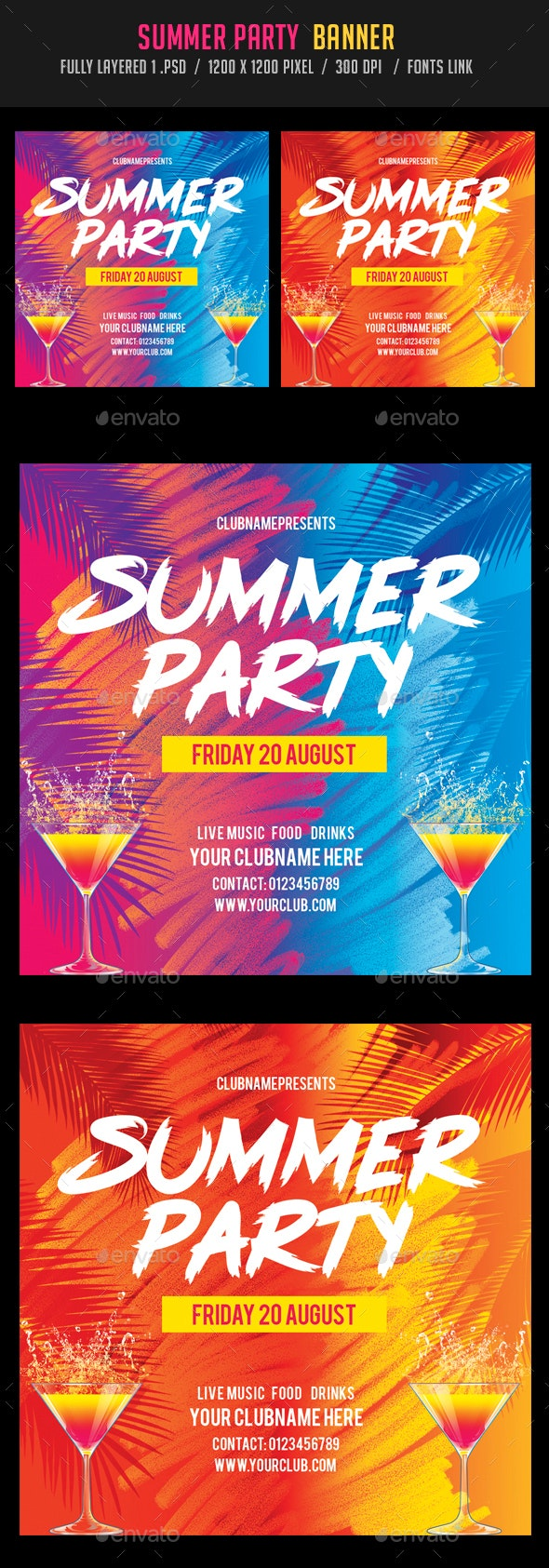 Summer Party Banners - Banners & Ads Web Elements