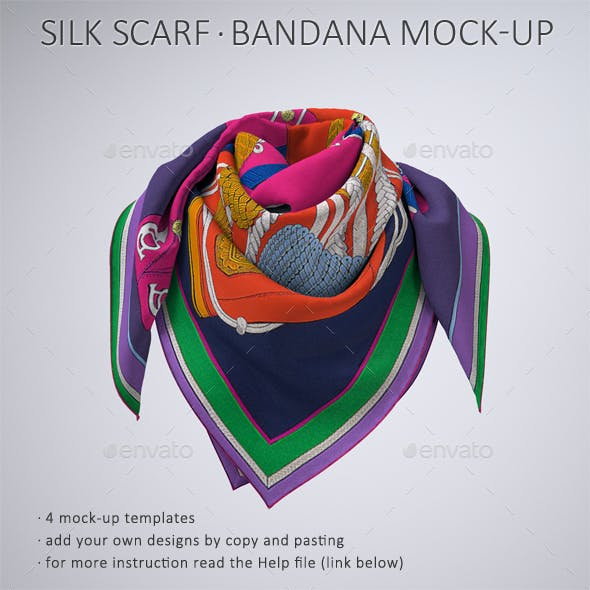 Square Silk Scarf or Bandana Mock-Up